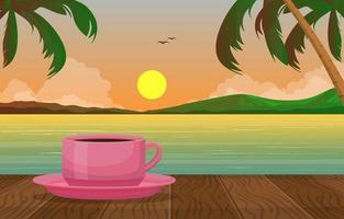 uma xícara de chá na ilustração da vista do pôr do sol na praia