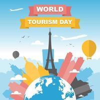 horizonte de paris frança no globo, dia mundial do turismo vetor