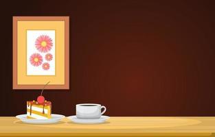 uma xícara de chá e torta na mesa de madeira com uma imagem emoldurada vetor