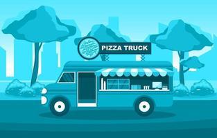food truck vendendo pizza no parque vetor