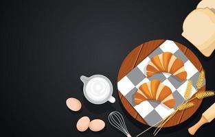 croissants na mesa de madeira com ovos e pão vetor