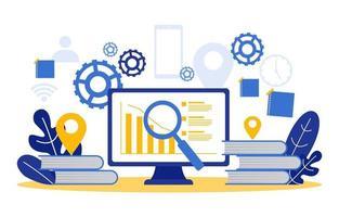 gráficos e análises de marketing digital no laptop vetor