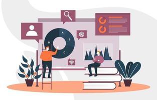 empresários trabalhando na estratégia de marketing digital vetor