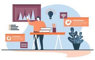 empresário trabalhando em estratégia de marketing digital vetor