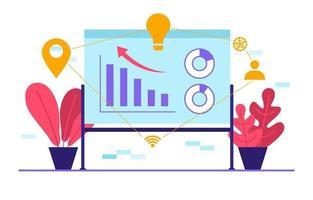 gráficos e análises de marketing digital no quadro de apresentação vetor