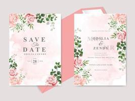 lindos cartões florais de convite de casamento desenhados à mão vetor