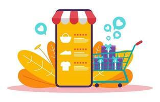 compras online no smartphone com carrinho de compras vetor