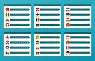 tabela de resultados de pontuação de futebol 2020 vetor