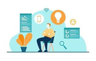 homem na cadeira pensando em dados de marketing digital vetor