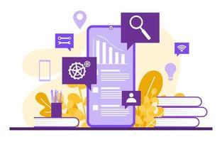 gráficos e análises de marketing digital no smartphone vetor