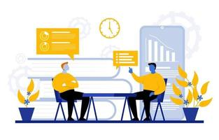 homens em cadeiras discutindo dados de marketing digital vetor