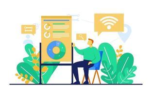 homem na cadeira estudando dados de marketing digital vetor