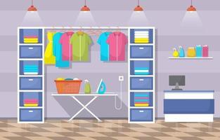 lavanderia com rack de roupas e tábua de passar vetor