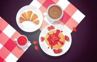 panquecas de morango, croissant e café vetor