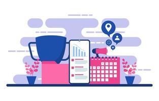 gráficos e análises de marketing digital no telefone vetor