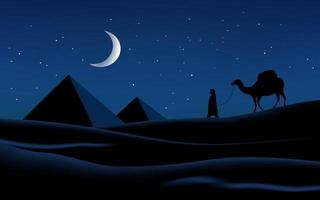 ilustração da noite do deserto árabe vetor