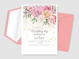elegantes cartões de convite de casamento desenhados à mão floral vetor
