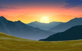 cena dramática ao pôr do sol na montanha vetor