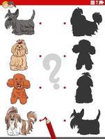 tarefa sombra com personagens engraçados de cães de raça pura vetor