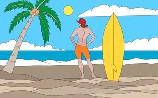 homem com prancha de surf na praia vetor
