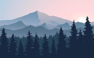 nascer do sol da montanha com floresta de pinheiros vetor