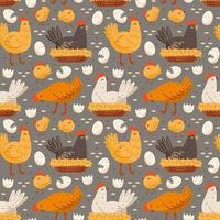 galinha, pássaro, galo, galinha, ovo, ninho. produção ecológica de alimentos. padrão sem emenda, textura, plano de fundo. vetor