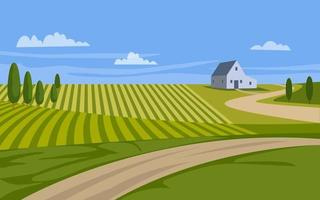 paisagem rural de vetor com celeiro e trilha