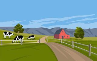 paisagem rural com gado e celeiro vetor