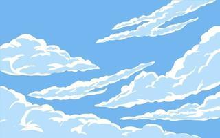 ilustração de nuvens e céu azul vetor