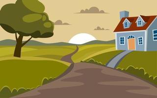 bonito desenho animado paisagem rural com casa e estrada vetor