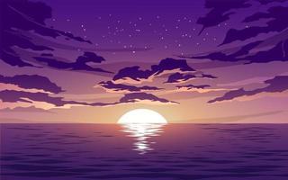vetor mar pôr do sol com nuvens