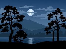 ilustração da paisagem da floresta à noite vetor