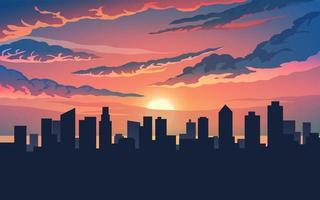 céu dramático da cidade ao pôr do sol vetor