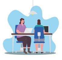 mulheres com laptops trabalhando, conceito de trabalho em equipe