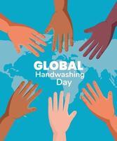 banner global do dia da lavagem das mãos vetor