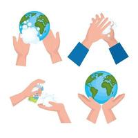 conjunto de ícones de dia de lavagem das mãos global vetor