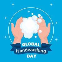 banner global do dia da lavagem das mãos com espuma de sabão vetor