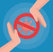 coronavírus proibido com desenho vetorial de mãos vetor