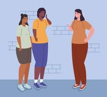 mulheres inter-raciais saindo vetor