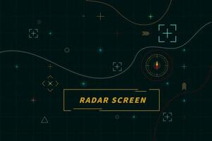 tela de radar digital verde. hud de interface de tecnologia abstrata de painel de controle de radar em design de vetor de fundo preto.