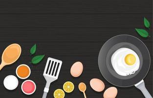 ovo na frigideira com equipamento para cozinhar e frutas no pano de fundo da cozinha vetor