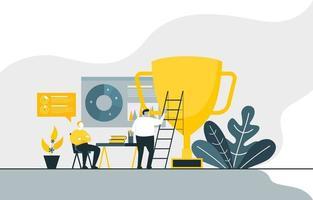 empresários trabalhando em projeto de marketing digital vetor