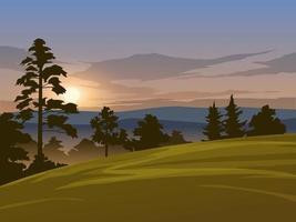 paisagem de manhã nublada de vetor