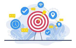 símbolos de marketing digital com bullseye e plantas vetor