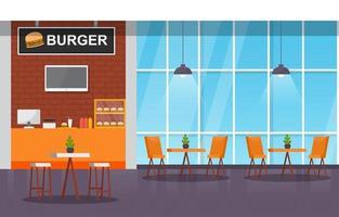 interior da praça de alimentação com mesas e cadeiras vazias vetor