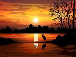 bela cena de pôr do sol na floresta com lago vetor