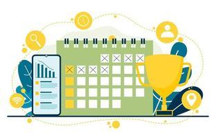 símbolos de marketing digital com calendário e troféu vetor