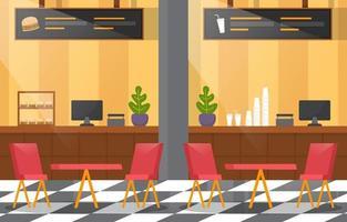 interior do restaurante com mesas e cadeiras vazias
