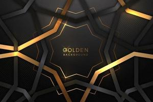 luxuoso fundo preto com uma combinação de ouro brilhando em um estilo 3d. elemento de design gráfico. decoração elegante. eps 10 vetor