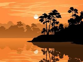 ilustração vetorial cênica do pôr do sol com floresta e lago vetor